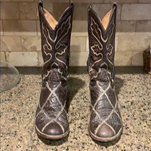 Vintage Tony Lama Elephant & Leather Cowboy Boots